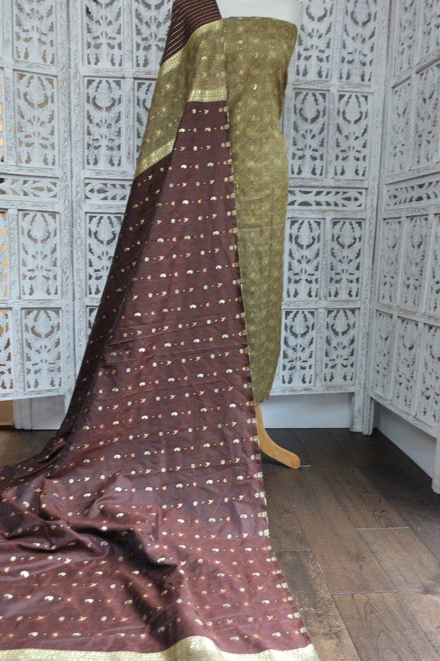 Brown & Khaki Vintage Silk - New - Indian Suit Company