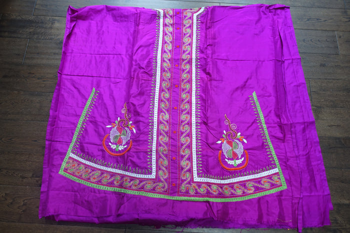 Fuchsia Pink Vintage Silk Unstitched Suit - Indian Suit Company