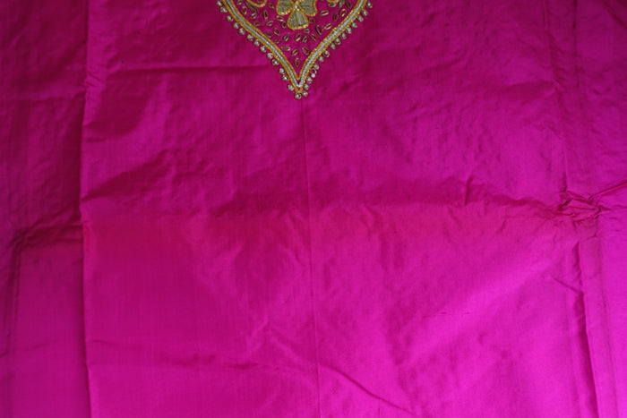 Hot Pink Vintage Silk Unstitched Suit - Indian Suit Company