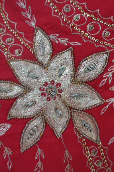 Red Vintage Silk Unstitched Suit - Indian Suit Company