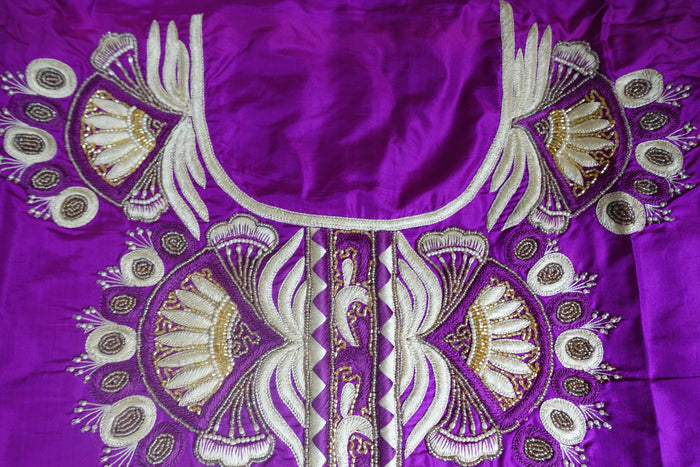 Purple Vintage Silk Unstitched Suit - Indian Suit Company