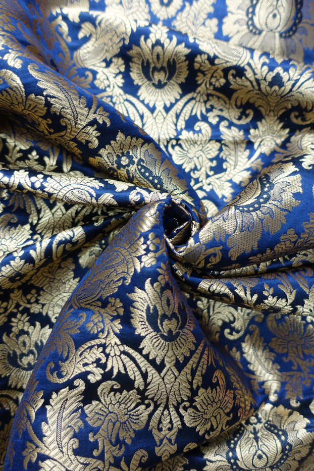 Midnight Blue Brocade - New - Indian Suit Company