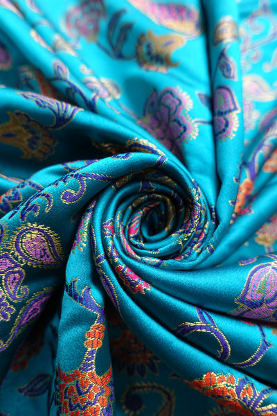 bright blue sateen brocade effect fabric - new