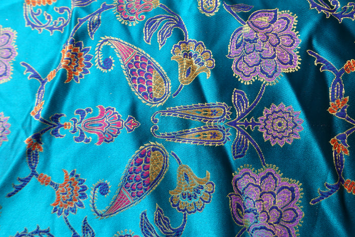Bright Blue Sateen Brocade Effect Fabric - New - Indian Suit Company