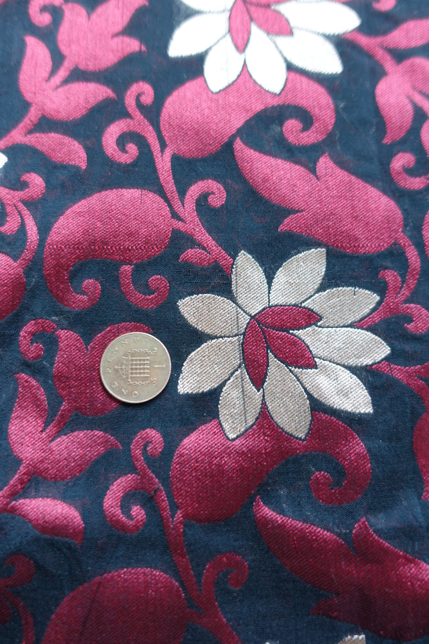 2 metres Black & Maroon Pure Banarsi Fabric - New - Indian Suit Company