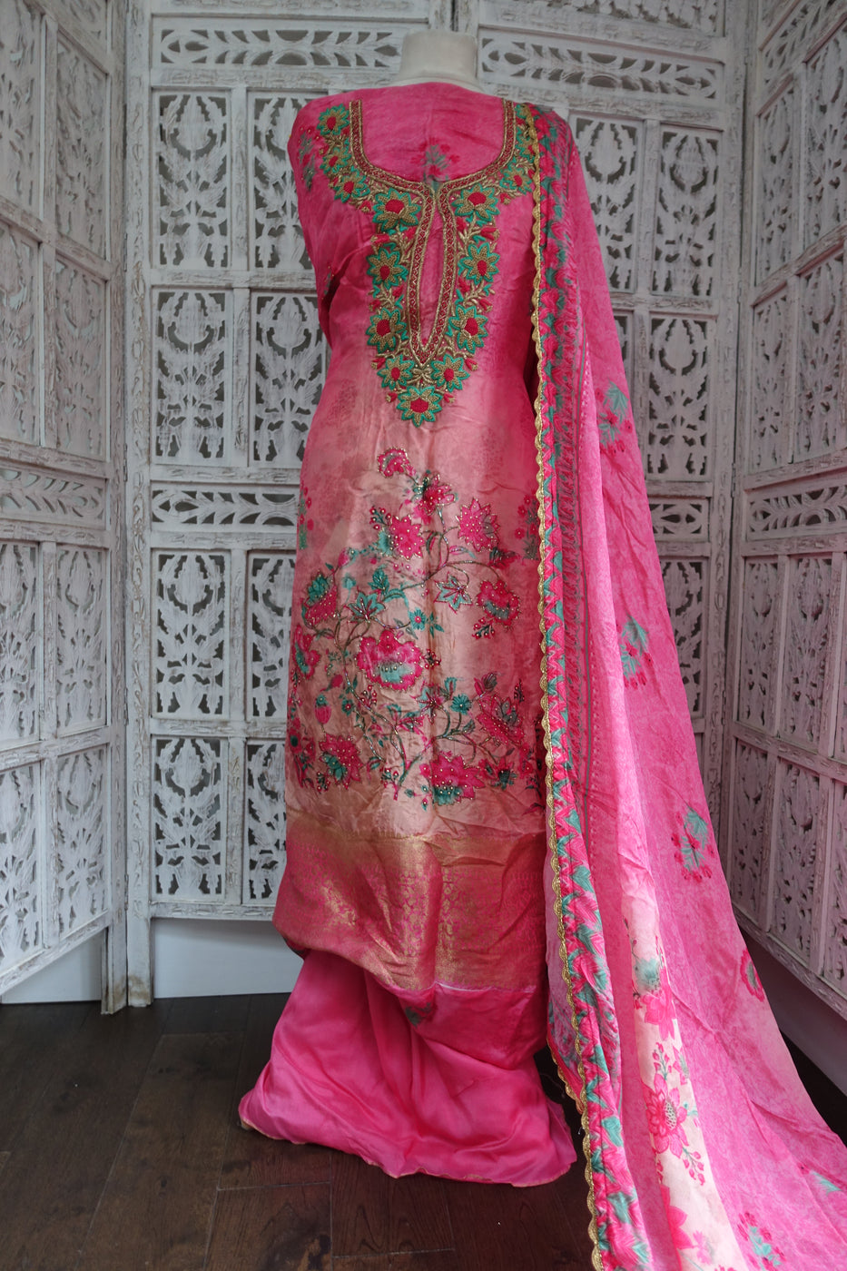 Pink Crepe Silk Unstitched Suit With Zardosi Detailing - Indian Suit Company