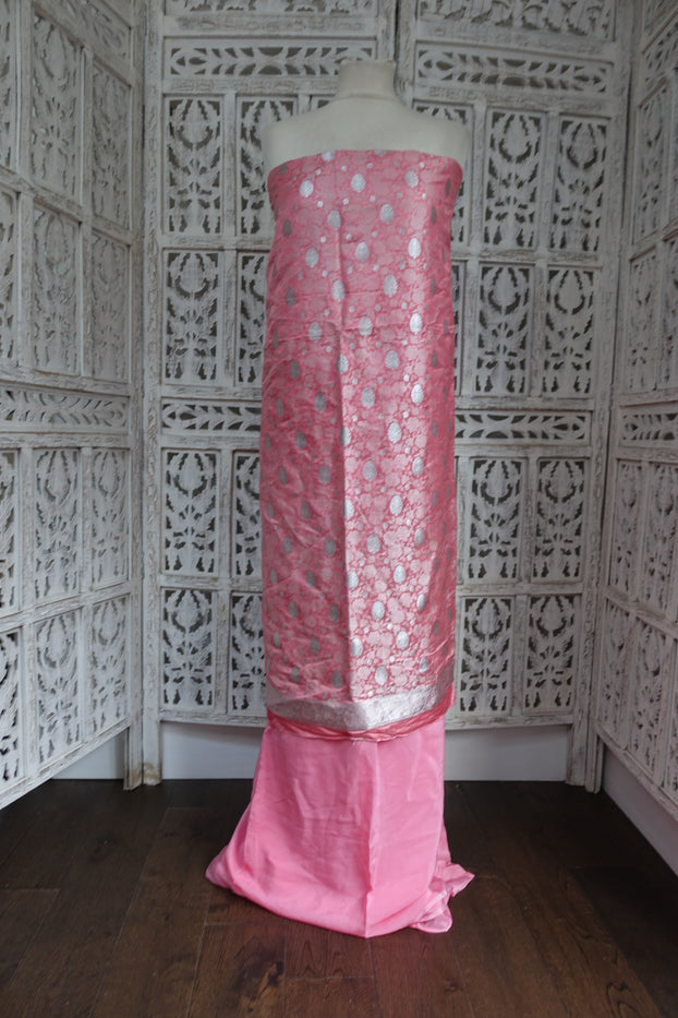 Soft Pink Banarsi Pure Brocade Unstitiched - Indian Suit Company