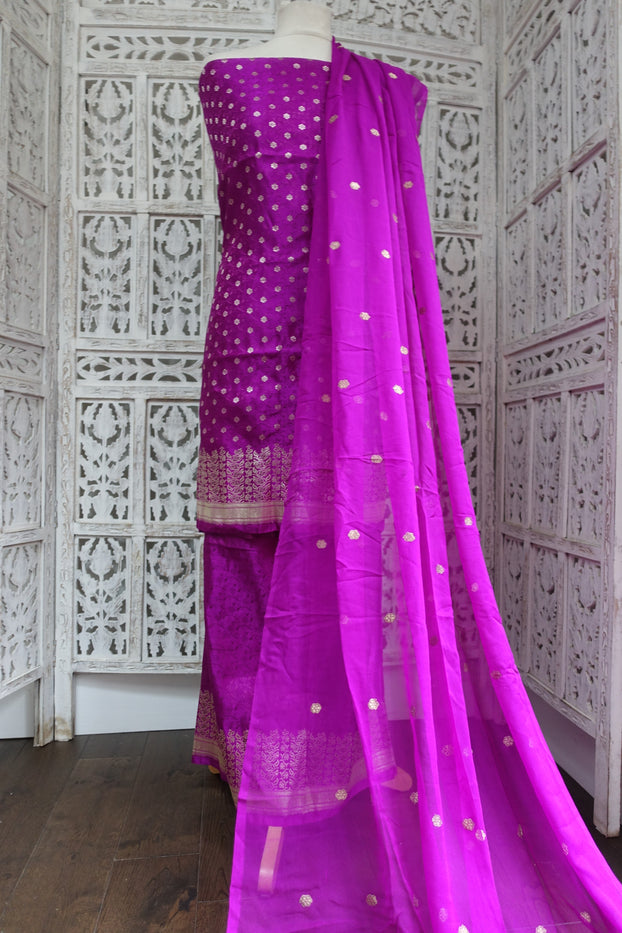 Purple Pure Banarsi Brocade & Silk Unstitched Suit - Indian Suit Company