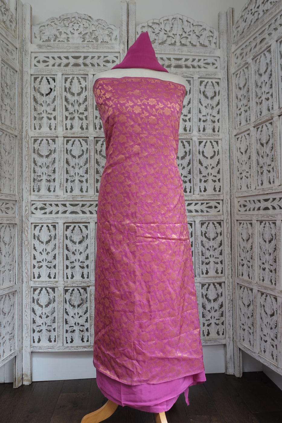 Rose Pink Banarsi & Silk Salwar Suit - Indian Suit Company