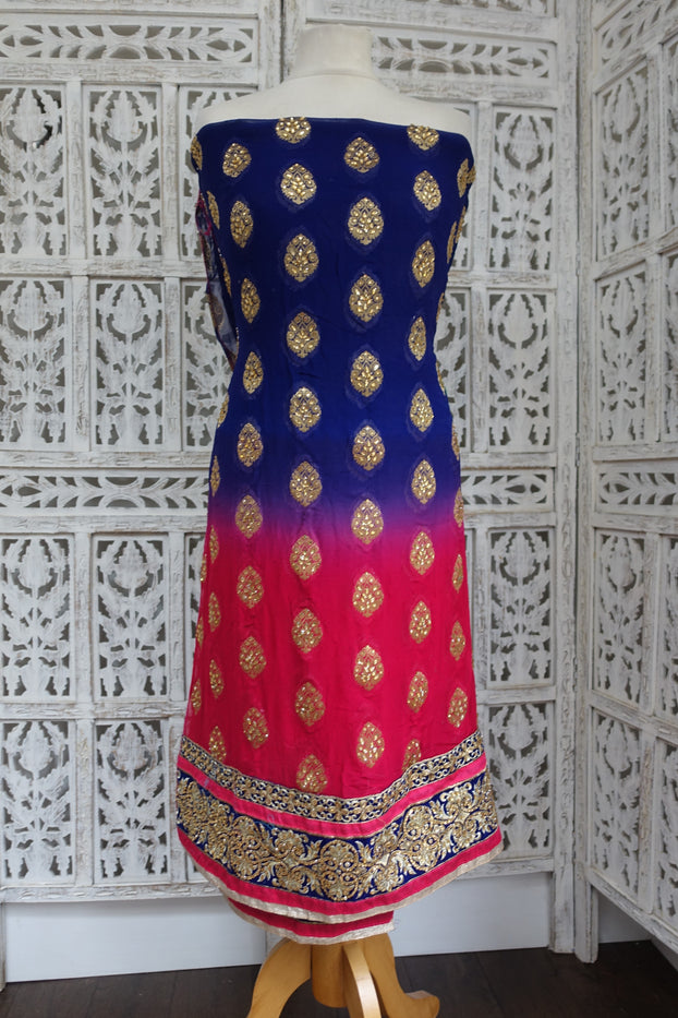 Red & Blue Embellished Georgette Kameez Fabric - Indian Suit Company