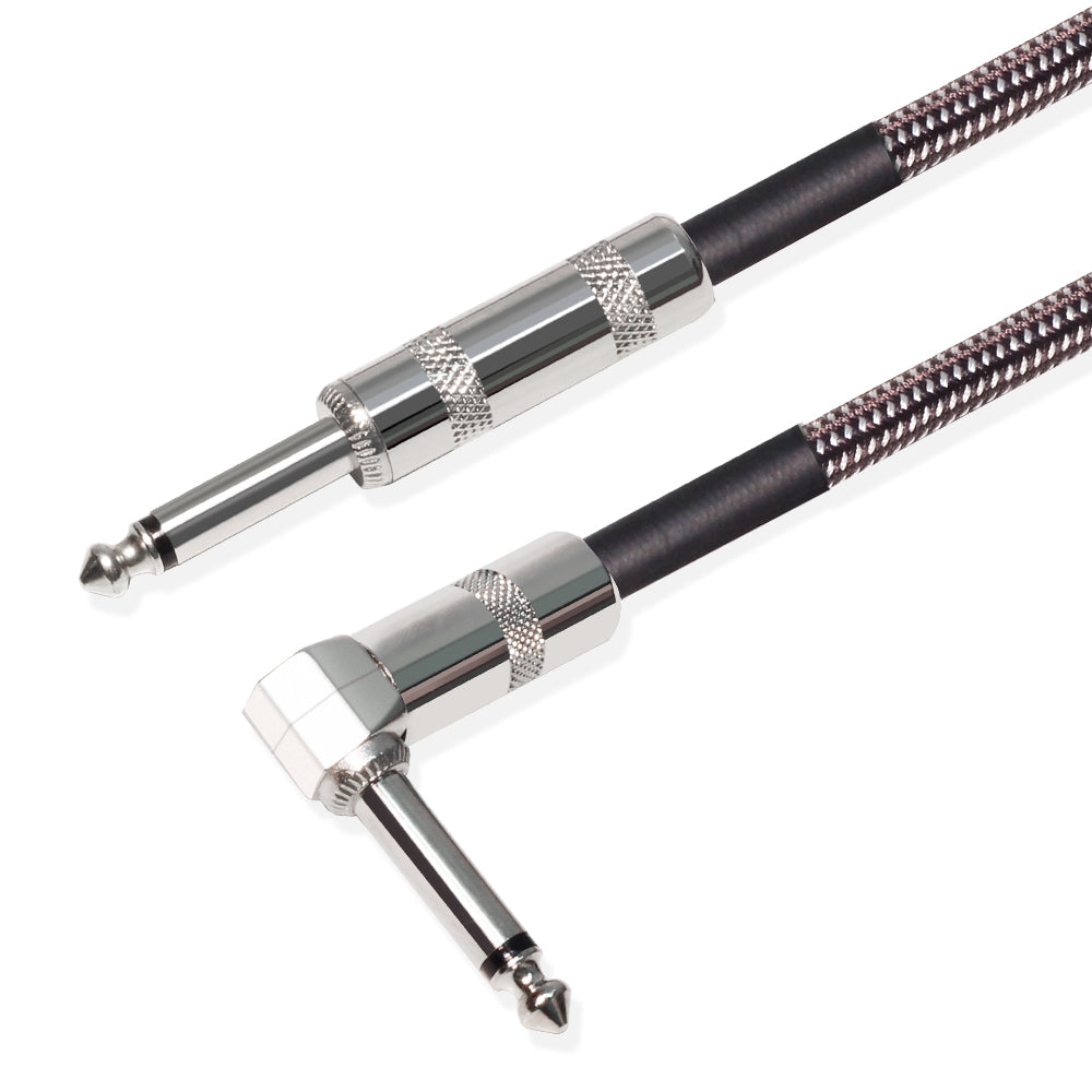 "Kalena Silver-plated TS 1/4"" shielded cable with one L and one straight connector - Kalena Instruments"