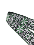 Kalena 2 Pin Acoustic Guitar Strap Buckle Style Embroidery Flower (jacquard band+nylon+real leather) - Kalena Instruments / Green