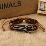 Alloy Guitar Pattern Leather Drawstring Rope Bracelet - Kalena Instruments / Coffee