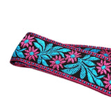 Kalena 2 Pin Guitar Strap Buckle Style Blue and Purple Flowers (jacquard band+nylon+real leather) - Kalena Instruments