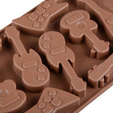 Kalena 10 Cavity Silicone Chocolate Molds Bass Guitar Shaped Baking Moulds Ice Cube Trays (Coffee)