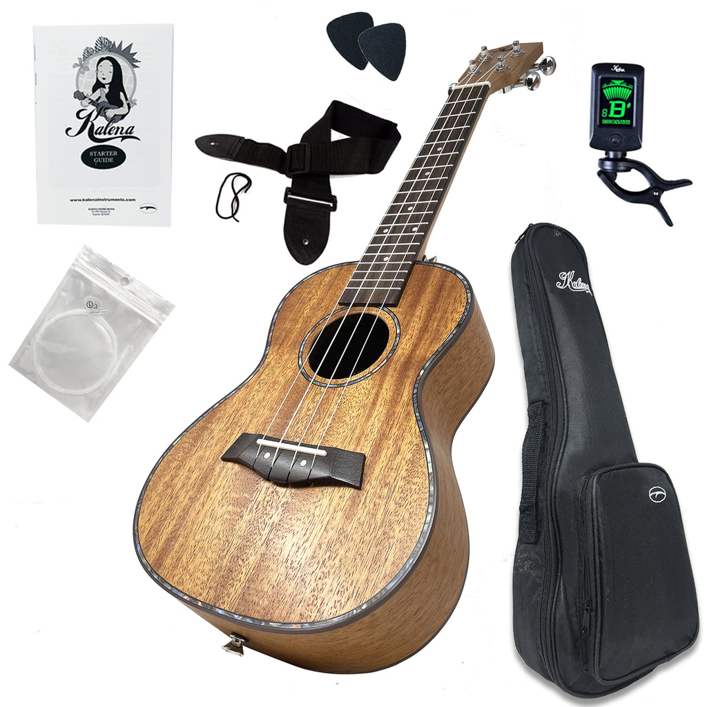 Kalena LM series Mahogany Ukulele Traditional Edition Warm Mahogany with Celluloid Binding complete set with black padded gig bag, tuner, strap, strings, picks and book