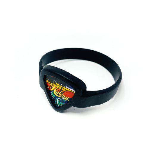 Guitar Picks Bracelet, Guitar Pick Holder Bracelet - Kalena Instruments / Black with Collector's Hawaii Beach Pick