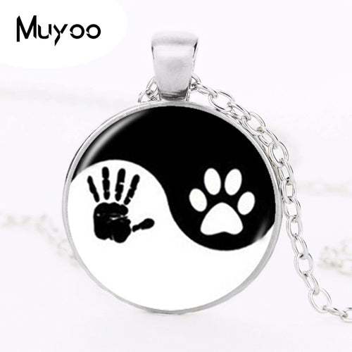 Yin Yang Necklace Pet Paw Print Pendant Art Necklace