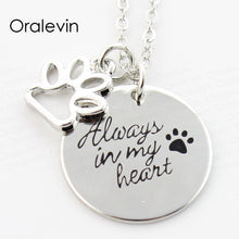 Load image into Gallery viewer, ALWAYS IN MY HEART Engraved Pet Dog Pawprint Pendant Charms Necklace