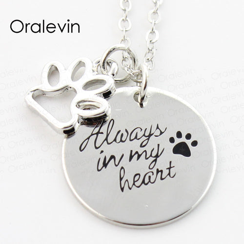 ALWAYS IN MY HEART Engraved Pet Dog Pawprint Pendant Charms Necklace