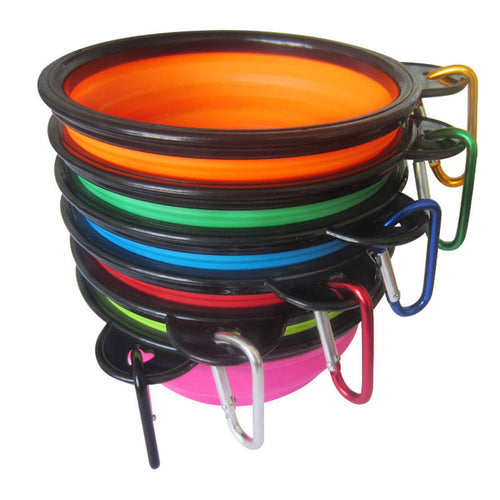 Portable collapsible Silicone Dog Bowl