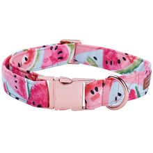 Load image into Gallery viewer, Watermelon Pink Dog Collar and Leash Set with Bow Tie