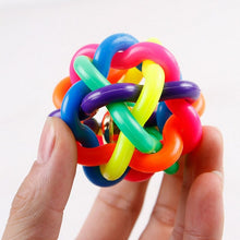 Load image into Gallery viewer, Cute Dog Toys Interactive Ball with Small Bell Rainbow