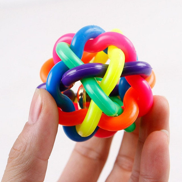 Cute Dog Toys Interactive Ball with Small Bell Rainbow
