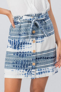 Button Down Aztec Skirt
