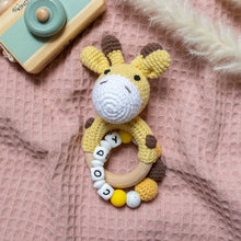 Load image into Gallery viewer, Personalised Crochet Giraffe Teething Rattle