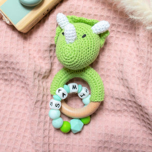 Personalised Crochet Dinosaur Teething Rattle