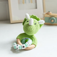 Load image into Gallery viewer, Personalised Crochet Dinosaur Teething Rattle
