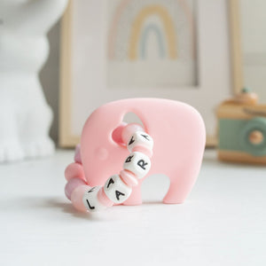 Personalised Teething Ring - Pink Silicone Elephants