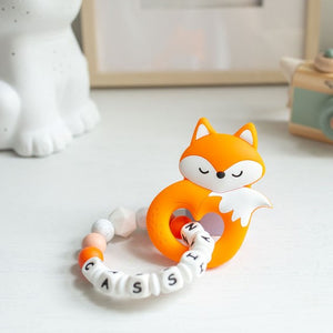 Personalised Teething Ring - Fox