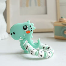 Load image into Gallery viewer, Dinosaur Teething Ring and Dummy Clip Gift Set