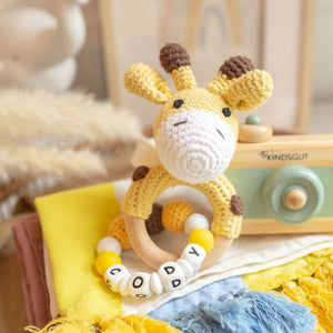 Personalised Crochet Giraffe Teething Rattle