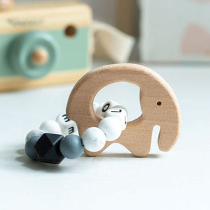 Personalised Teething Ring - Monochrome Elephant