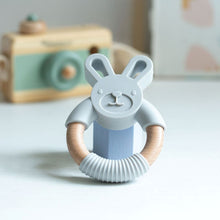 Load image into Gallery viewer, Bunny Silicone and Beech Wood Handheld Teether