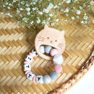 Personalised Teething Ring - Pink Cat