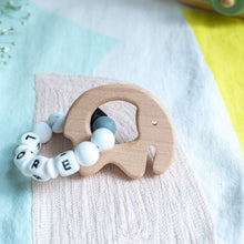 Load image into Gallery viewer, Personalised Teething Ring - Monochrome Elephant