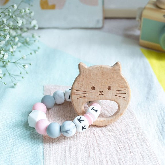 Load image into Gallery viewer, Personalised Teething Ring - Pink Cat