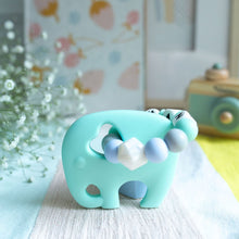 Load image into Gallery viewer, Personalised Teething Ring - Mint Elephants