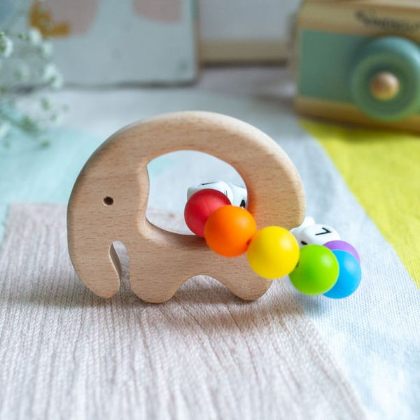 Load image into Gallery viewer, Personalised Teething Ring - Rainbow Elephant