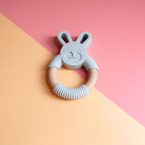 Bunny Silicone and Beech Wood Handheld Teether