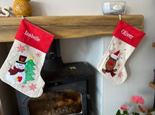 Load image into Gallery viewer, Personalised Embroidered Christmas Stocking - Snowman