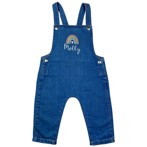 Personalised Denim Dungarees - Pastel Rainbow Design