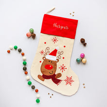 Load image into Gallery viewer, Personalised Embroidered Christmas Stocking - Reindeer