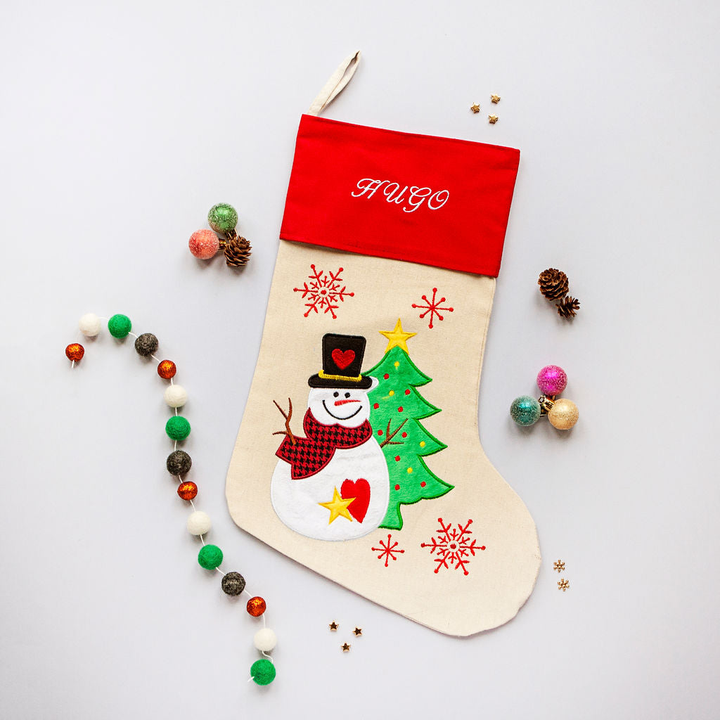 Personalised Embroidered Christmas Stocking - Snowman