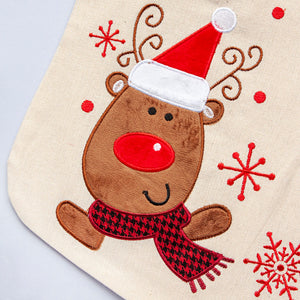 Personalised Embroidered Christmas Stocking - Reindeer
