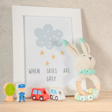 Load image into Gallery viewer, Personalised Crochet Easter Bunny Teething Ring - Mint